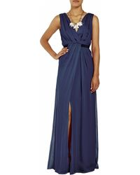Matthew Williamson Silk Chiffon Drape Evening Gown - Lyst