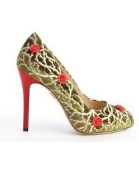 Charlotte Olympia Moss Velvet Embrodered and Rose Detail Pumps - Lyst