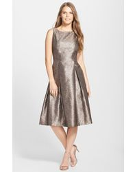 Tahari Metallic Jacquard Pleated Midi Dress - Lyst