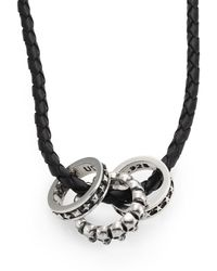 King Baby Studio Sterling Silver Rings & Braided Leather Necklace silver - Lyst