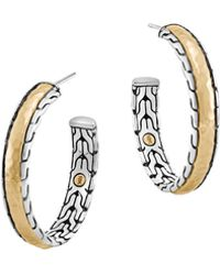 John Hardy Classic Chain Palu Silver  Gold Hoop Earrings - Lyst