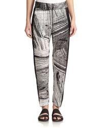 Helmut Lang Printed Silk Pants black - Lyst