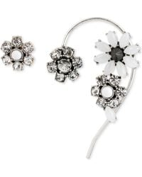 Betsey Johnson Silver-Tone Crystal Stud Earring And Ear Cuff Set - Lyst