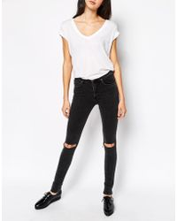 Dr denim arlene skinny jeans with ripped knees