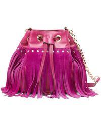 Diane von Furstenberg Disco Suede And Leather Fringe Bucket Crossbody Bag - Lyst