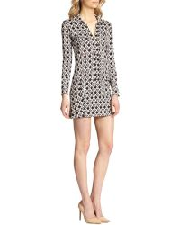 Diane Von Furstenberg Dilly Silk Knit Shirtdress - Lyst