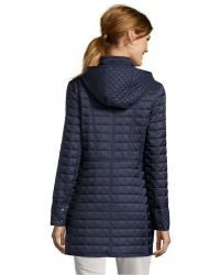 DKNY Midnight Microbox Quilted 'Sloan' Hooded 3/4 Length Jacket - Lyst