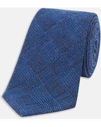 Turnbull & Asser | Slim Informalist Subtle Check Blue Cashmere Blend Tie | Lyst