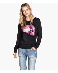 H&M Sweatshirt with Sequins - Lyst