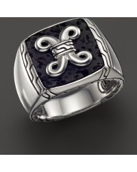 John Hardy Batu Dayak Sterling Silver Signet Ring with Black Volcanic Rock - Lyst