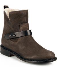 Rag & Bone Ashford Moto Leather & Shearling Flat Ankle Boots - Lyst