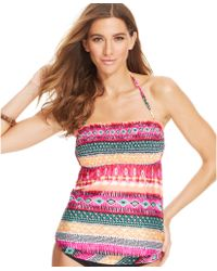 Kenneth Cole Reaction Mixed-print Bandeau Tankini Top - Lyst