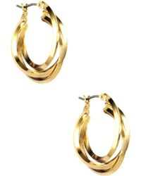 Anne Klein - Gold Tone 3 Ring Hoop Earrings - Lyst