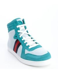 Gucci White and Turquoise Suede Mesh Web Stripe High Top Sneakers - Lyst