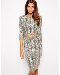 TFNC Crop Top In Scallop Sequins - Lyst