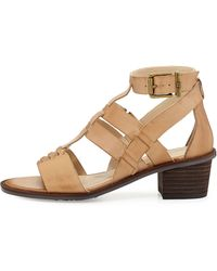 Elliott Lucca - Lena Block-Heel Leather Sandal - Lyst