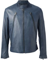 Maison Martin Margiela Blue Leather Jacket - Lyst