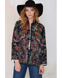 Nasty Gal Vintage On The Fly Embroidered Jacket - Lyst