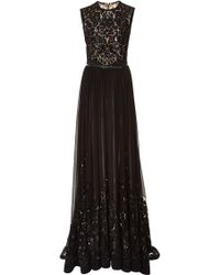 Elie Saab Embroidered Black Silk Georgette Gown - Lyst