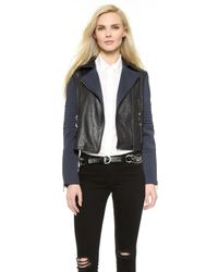 J Brand Aiah Leather Jacket - Navy - Lyst