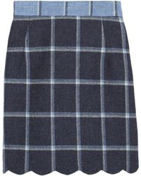 House Of Holland Coco Checked Wool Mini Skirt - Lyst