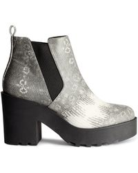H&M Gray Platform Boots - Lyst