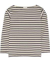 Saint Laurent Striped Cotton-Jersey Top blue - Lyst