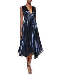 Alice + Olivia Alessandra Pleated Metallic Asymmetric Gown Blue 2 - Lyst