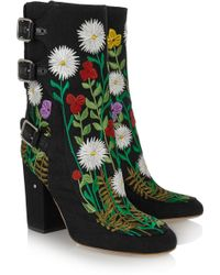 Laurence Dacade Merli Floral-Embroidered Canvas Ankle Boots - Lyst