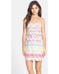 Charlie Jade Print Silk Strapless Dress - Lyst