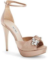 Miu Miu Embellished Ankle Strap Sandal beige - Lyst