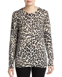 Equipment Shane Cashmere Leopard Print Sweater - Lyst