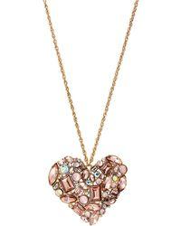 Betsey Johnson - Pink Mixed Bead Heart Pendant Necklace - Lyst