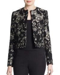 Carolina Herrera Floral Lace Knit Jacket - Lyst