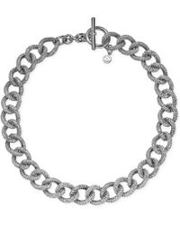 Michael Kors Silver-tone Crystal Pavé Curb Chain Toggle Necklace - Lyst