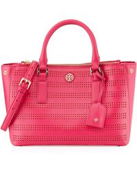 Tory Burch Robinson Perforated Double-Zip Tote Bag - Lyst