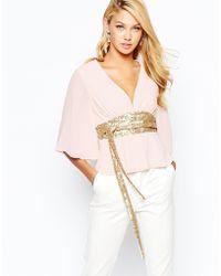 TFNC | Kimono Sleeve Top With Sequin Obi Belt | Lyst