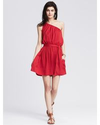 Banana Republic Belted One-Shoulder Dress - Lyst