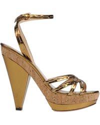 Prada Gold Sandals - Lyst