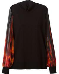 Roberto Cavalli Sheer Flame Print Sleeves Sweater - Lyst
