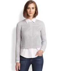 Rebecca Taylor Open-Knit Cropped Sweater - Lyst
