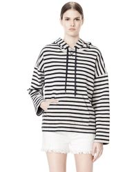 Alexander Wang - Striped French Terry Hooded Sweatshirt - Lyst