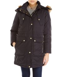Cole Haan Faux Fur Trim Hooded Down Parka - Lyst