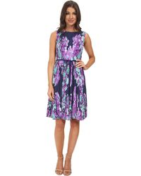 Adrianna Papell Floral Print Pleated Dress - Lyst