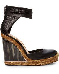 BCBGMAXAZRIA Black Frame Wedge Heels - Lyst
