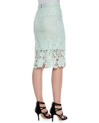 Andrew Marc - Armor Lace Pencil Skirt - Lyst