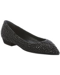 Giuseppe Zanotti Black Suede Crystal Studded Detail Pointed Toe Flats - Lyst