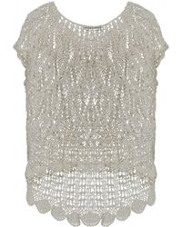 Alice + Olivia Arya Crochet Cropped Sweater - Lyst