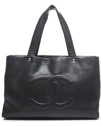 Chanel Pre-Owned Black Soft Caviar Cc Large Tote Bag black - Lyst