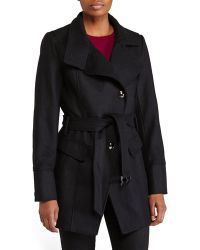 Kenneth Cole Asymmetrical Belted Coat - Lyst